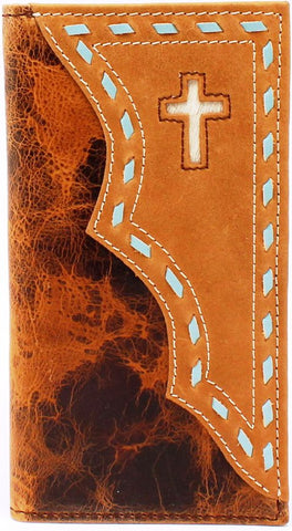 Western Brown Rodeo Wallet with Overlay Cross