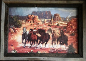 """Desert Storm"" Western Canvas Print with Reclaimed Barn Wood Frame"