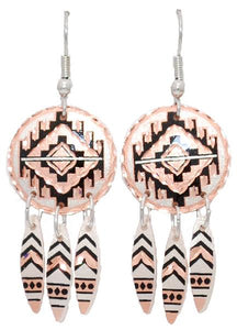 Southwest Design Copper Earrings  with Dangles