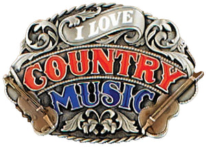 I Love Country Music Belt Buckle Enamel - Made in USA