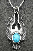 Load image into Gallery viewer, Eagle Wings Silver Necklace with Turquoise Stone