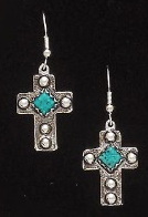 Western Silver & Copper Earrings with Turquoise Stones