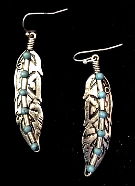 Western Silver & Turquoise Feather Earrings