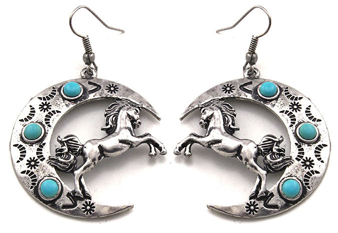 Horse and Crescent Moon Earrings with Turquoise