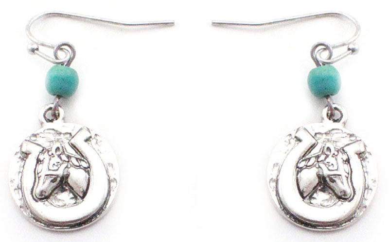 Antique Silver Horsehead/Horseshoe Earrings with Turquoise Bead