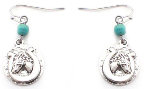 Antique Silver Horsehead/Horseshoe with Turquoise Bead
