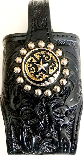 Cell Phone Holder - Black with Tri-Colored Star Concho