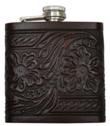 Brown Tooled Leather Flask
