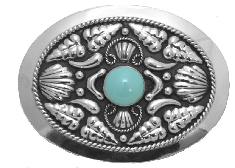 German Silver Belt Buckle with Genuine Turquoise Stone