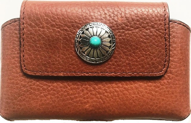 Georgia Boot Light Brown Cell Phone Holder with Turquoise Concho for iPhone 7/8 Plus