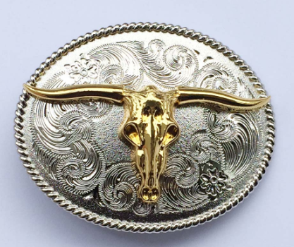 Texas Longhorn Gold & Silver Belt Buckle