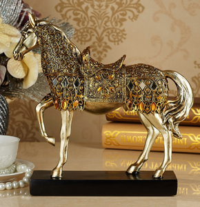 Golden Trotting Horse Bling Sculpture