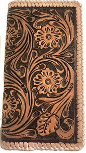 Tan Tooled Leather Rodeo Wallet
