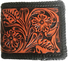 Load image into Gallery viewer, Tan & Black Tooled Leather Bi-Fold Wallet