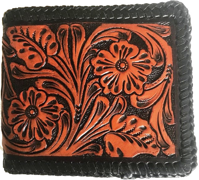 Tan & Black Tooled Leather Bi-Fold Wallet