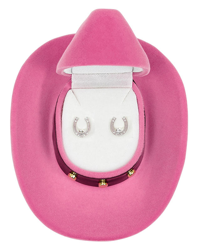 Horseshoe Earrings with Cowboy Hat Gift Box