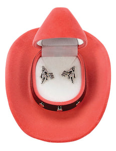 Barrel Racer Earrings with Cowboy Hat Gift Box