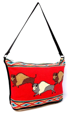 """Running Buffalo - Red"" Western Tote Bag - 13"" x 19"""