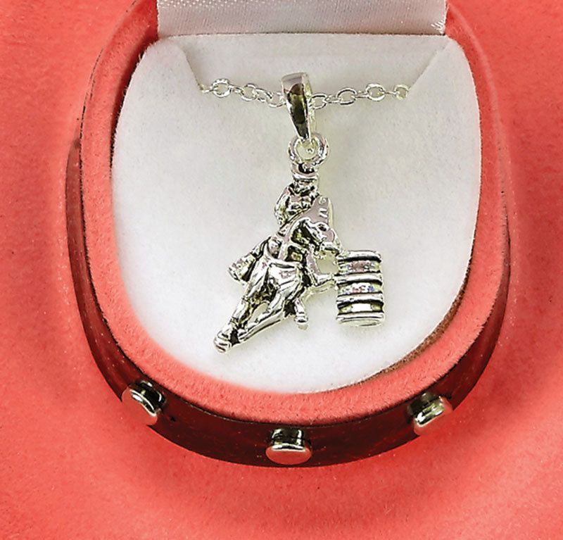 Barrel Racer Necklace with Cowboy Hat Gift Box