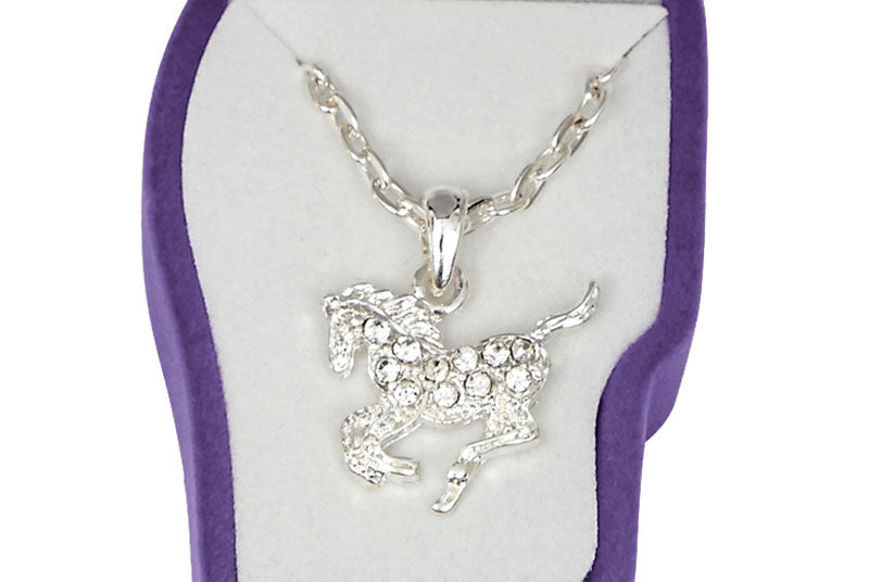 Rhinestone Pony Necklace with Horsehead Gift Box (Choose Color)