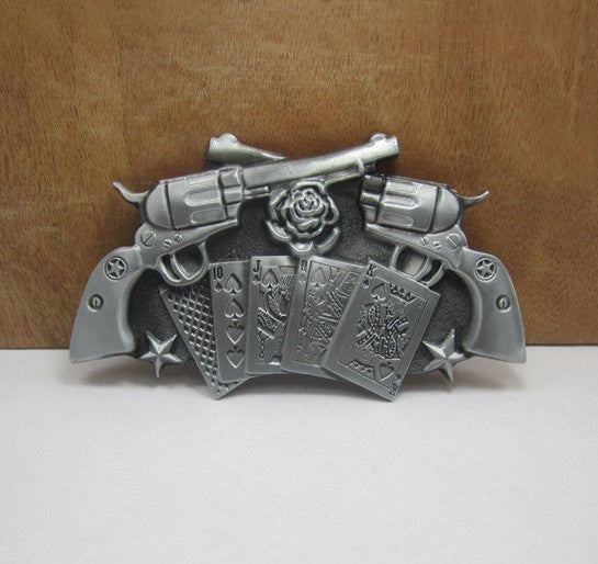 Crossed Pistols Metal Belt Buckle