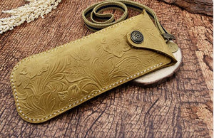 Tooled Leather Eyeglass Case with Concho Snap (Choose Color)