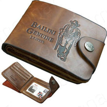 Load image into Gallery viewer, Genuine Leather Western Bi-Fold Wallet