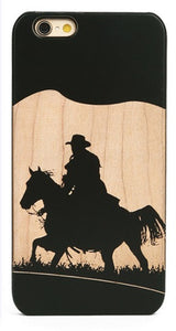 Western Cowboy on Wood Cell Phone Case for iPhone 6/7+
