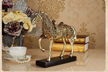 Load image into Gallery viewer, Golden Trotting Horse Bling Sculpture