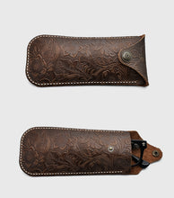 Load image into Gallery viewer, Tooled Leather Eyeglass Case with Concho Snap (Choose Color)