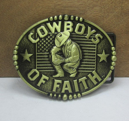 Christian Cowboy Metal Belt Buckle