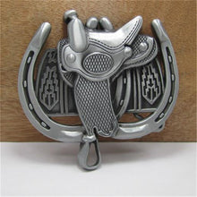 Load image into Gallery viewer, Saddle and Horseshoe Metal Belt Buckle