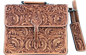 Western Natural Tooled Briefcase/Laptop Bag
