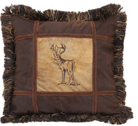 Autumn Trails Embroidered Buck Pillow - 18""