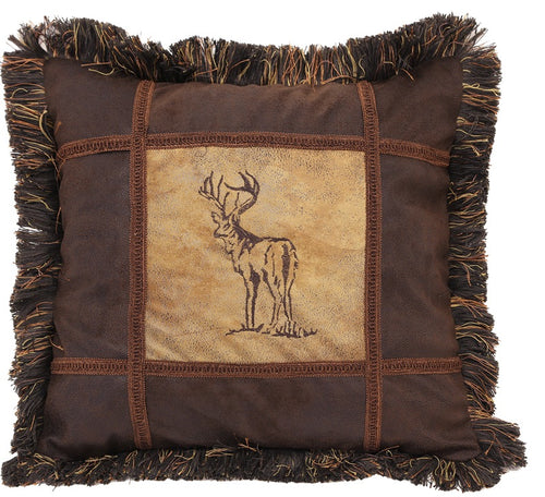 Autumn Trails Embroidered Buck Pillow - 18