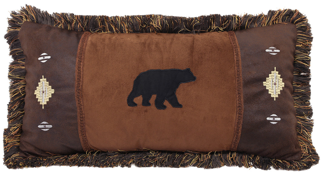 Autumn Trails Bear and Diamonds Pillow