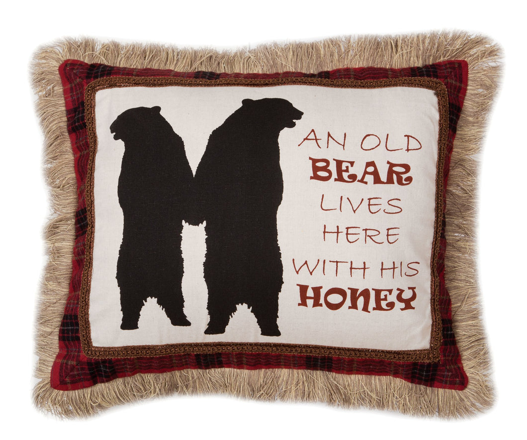 An Old Bear Lives Here Throw Pillow
