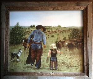 """Just Like Dad"" Western Canvas Print with Reclaimed Barn Wood Frame"