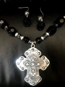 Western Silver Cross Necklace & Earrings