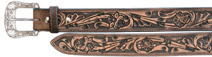 Floral Tooled Leather Men's Belt with Black Wash