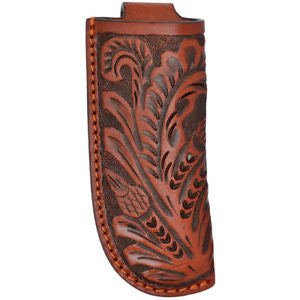 Large Tan Tooled Leather Knife Holder - 4""