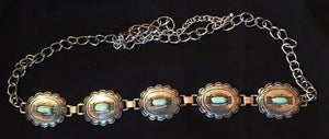 Ladies' Western Oval Silver & Turquoise Concho Belt