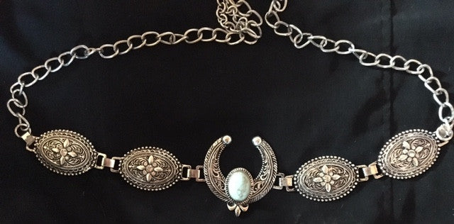Ladies' Western Rectangular Silver & Turquoise Squash Blossom Belt
