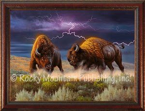 """Thunderstruck"" Western Framed Canvas Print (Choose Size)"