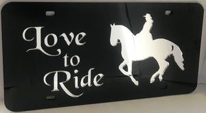 "(CLD-LVTRD) ""Love to Ride"" Mirrored Tennessee Walker License Plate Dark"