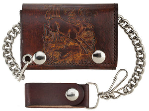 Antique Leather Trifold Wallet with Chain (Made In The USA)