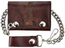 Load image into Gallery viewer, Antique Leather Trifold Wallet with Chain (Made In The USA)