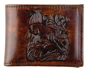 Brown Leather Billfold - Made in USA - Deer