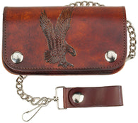 "6"" Leather Biker Wallet - Eagle - made in USA"