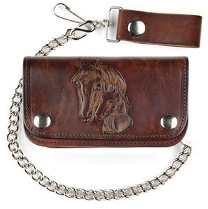 "6"" Leather Biker Wallet - Horse - made in USA"